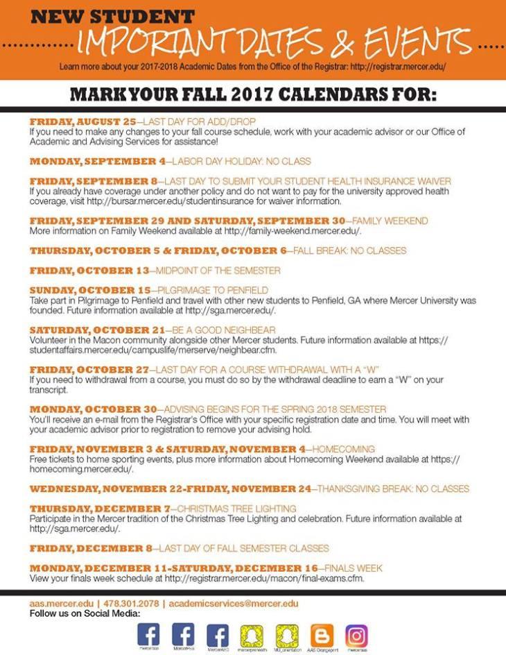 Fall 2017 DATES
